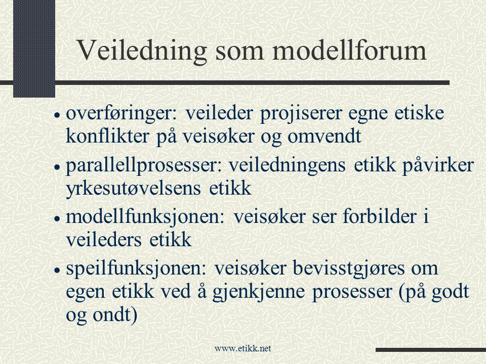 www.etikk.net Veiledning som modellforum  overføringer: veileder projiserer egne etiske konflikter på veisøker og omvendt  parallellprosesser: veile