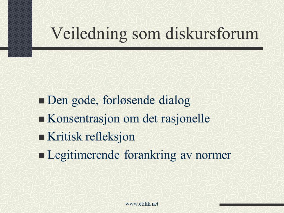 www.etikk.net Veiledning som diskursforum Den gode, forløsende dialog Konsentrasjon om det rasjonelle Kritisk refleksjon Legitimerende forankring av n