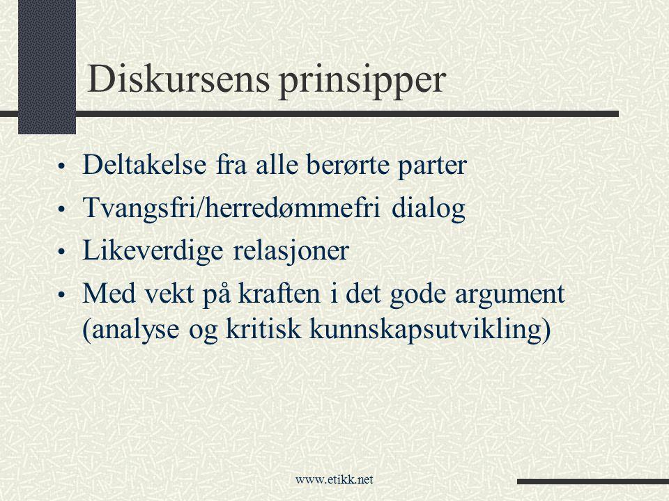 www.etikk.net Diskursens prinsipper Deltakelse fra alle berørte parter Tvangsfri/herredømmefri dialog Likeverdige relasjoner Med vekt på kraften i det