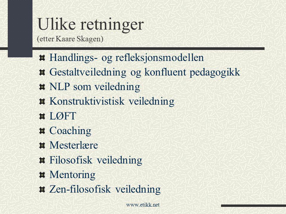 www.etikk.net Ulike retninger (etter Kaare Skagen) Handlings- og refleksjonsmodellen Gestaltveiledning og konfluent pedagogikk NLP som veiledning Kons