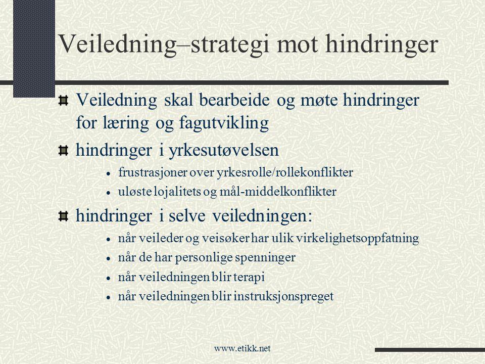 www.etikk.net Veiledning–strategi mot hindringer Veiledning skal bearbeide og møte hindringer for læring og fagutvikling hindringer i yrkesutøvelsen 