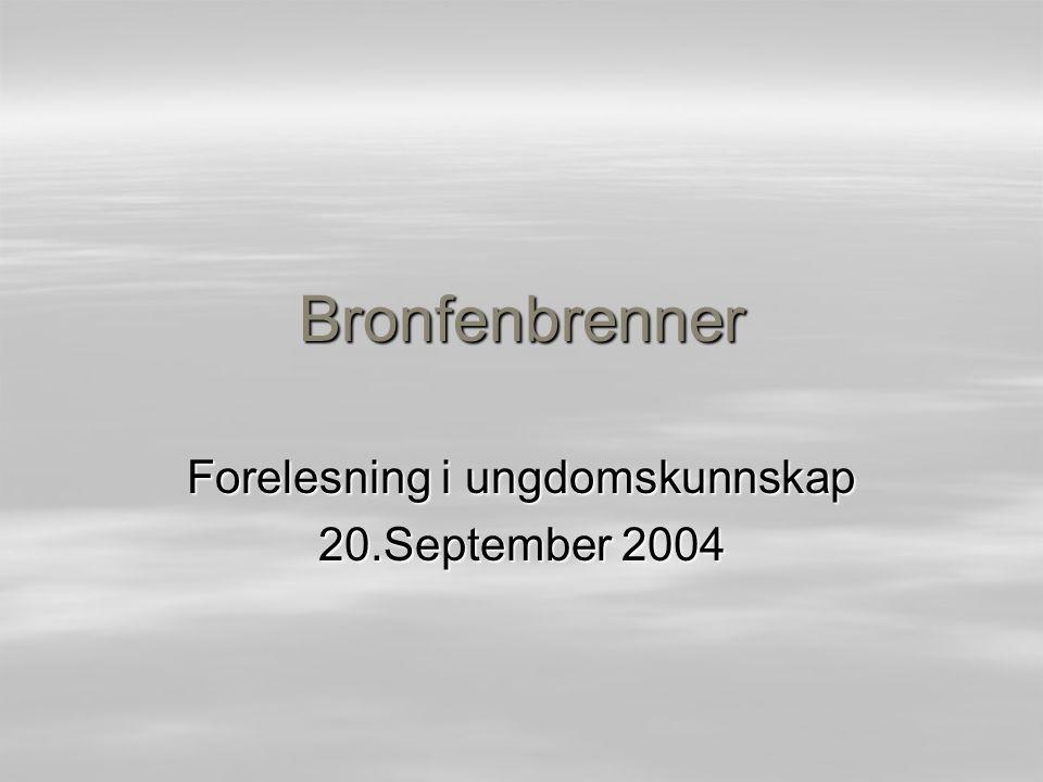 Bronfenbrenner Forelesning i ungdomskunnskap 20.September 2004