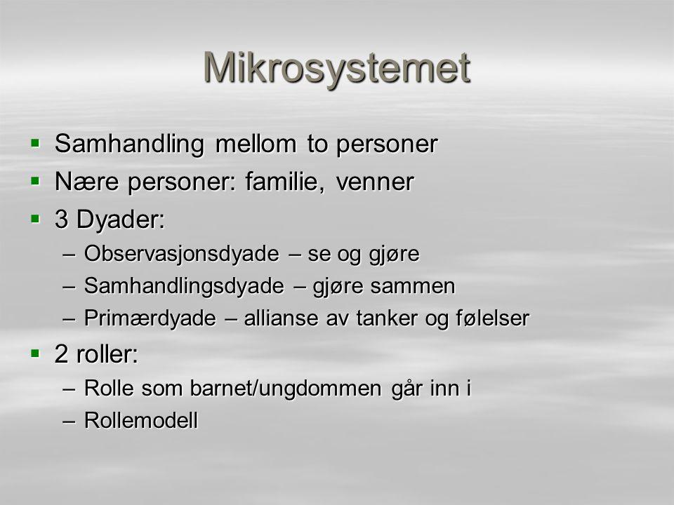 Mikrosystemet  Samhandling mellom to personer  Nære personer: familie, venner  3 Dyader: –Observasjonsdyade – se og gjøre –Samhandlingsdyade – gjør