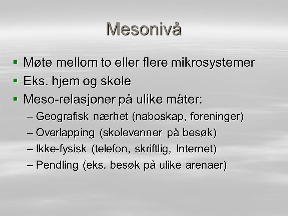 Mesonivå  Møte mellom to eller flere mikrosystemer  Eks. hjem og skole  Meso-relasjoner på ulike måter: –Geografisk nærhet (naboskap, foreninger) –