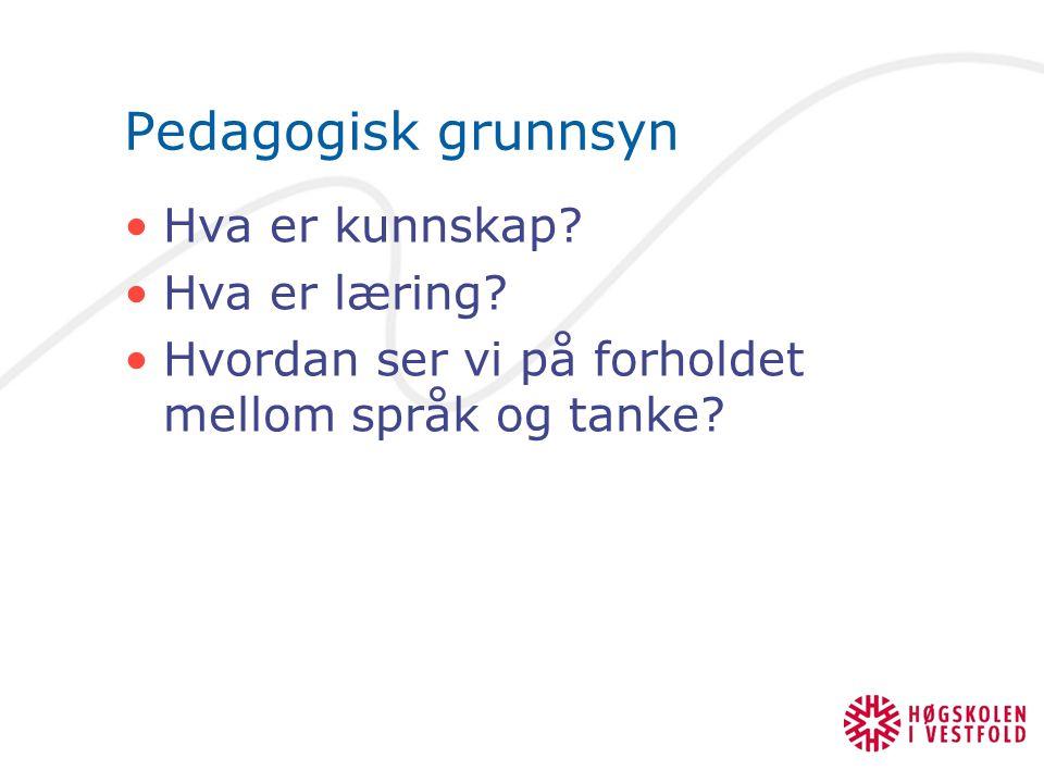 Pedagogisk grunnsyn Hva er kunnskap? Hva er læring? Hvordan ser vi på forholdet mellom språk og tanke?