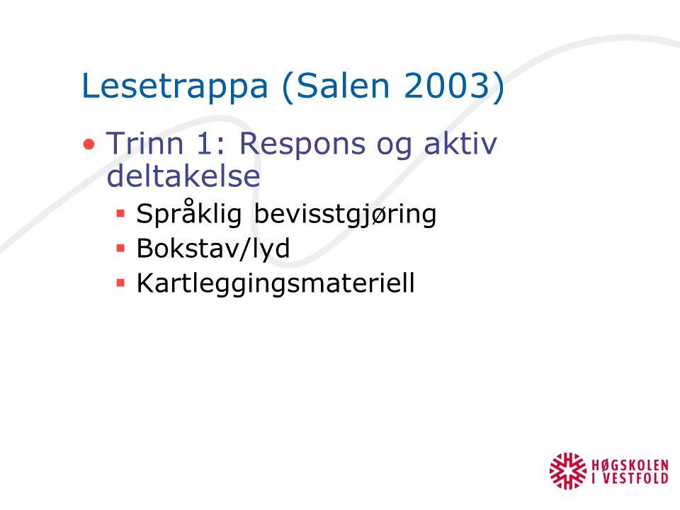 Lesetrappa (Salen 2003) Trinn 1: Respons og aktiv deltakelse  Språklig bevisstgjøring  Bokstav/lyd  Kartleggingsmateriell