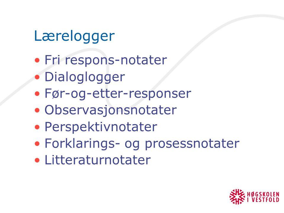 Lærelogger Fri respons-notater Dialoglogger Før-og-etter-responser Observasjonsnotater Perspektivnotater Forklarings- og prosessnotater Litteraturnota