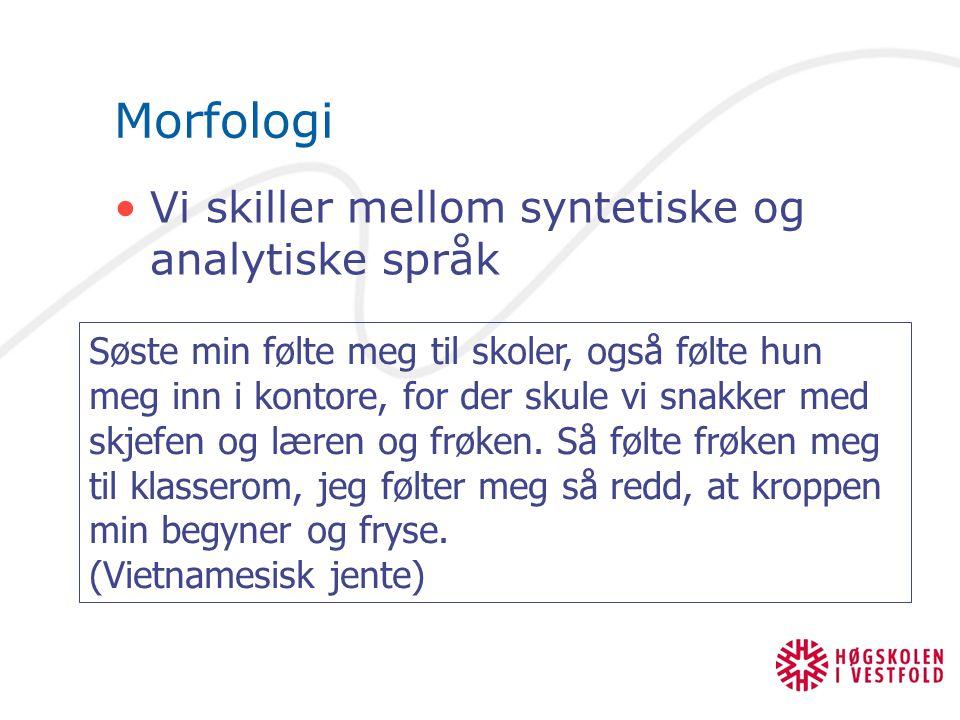 Morfologi Vi skiller mellom syntetiske og analytiske språk Søste min følte meg til skoler, også følte hun meg inn i kontore, for der skule vi snakker