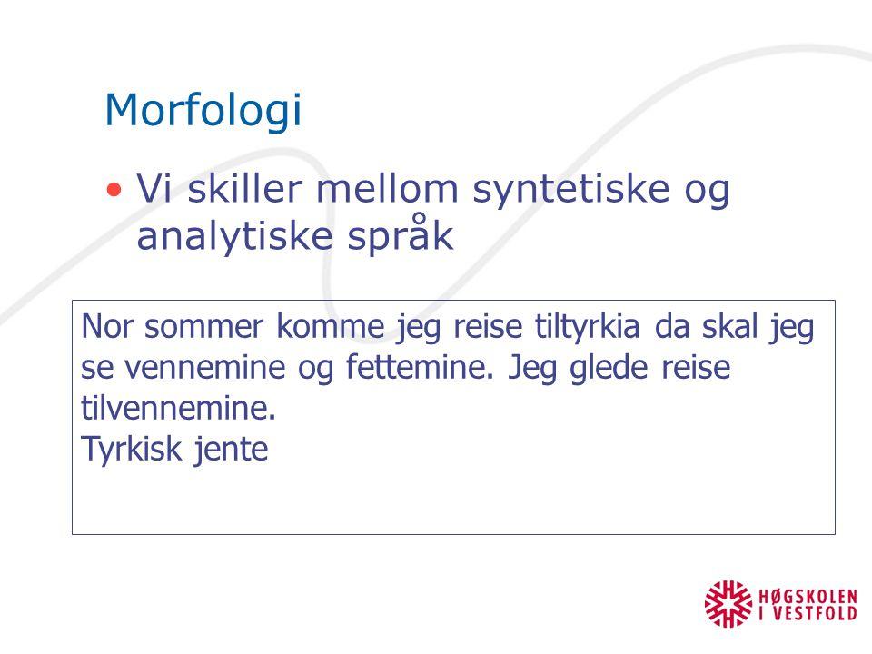 Morfologi Vi skiller mellom syntetiske og analytiske språk Nor sommer komme jeg reise tiltyrkia da skal jeg se vennemine og fettemine. Jeg glede reise