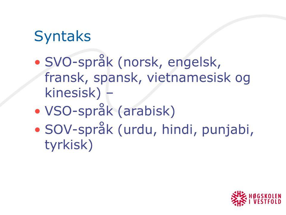 Syntaks SVO-språk (norsk, engelsk, fransk, spansk, vietnamesisk og kinesisk) – VSO-språk (arabisk) SOV-språk (urdu, hindi, punjabi, tyrkisk)