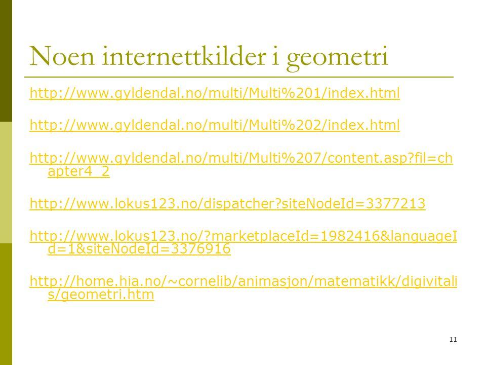 11 Noen internettkilder i geometri http://www.gyldendal.no/multi/Multi%201/index.html http://www.gyldendal.no/multi/Multi%202/index.html http://www.gy