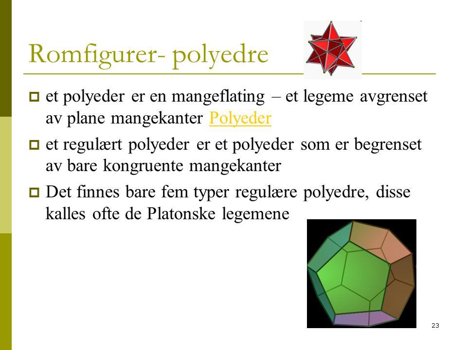 23 Romfigurer- polyedre  et polyeder er en mangeflating – et legeme avgrenset av plane mangekanter PolyederPolyeder  et regulært polyeder er et poly