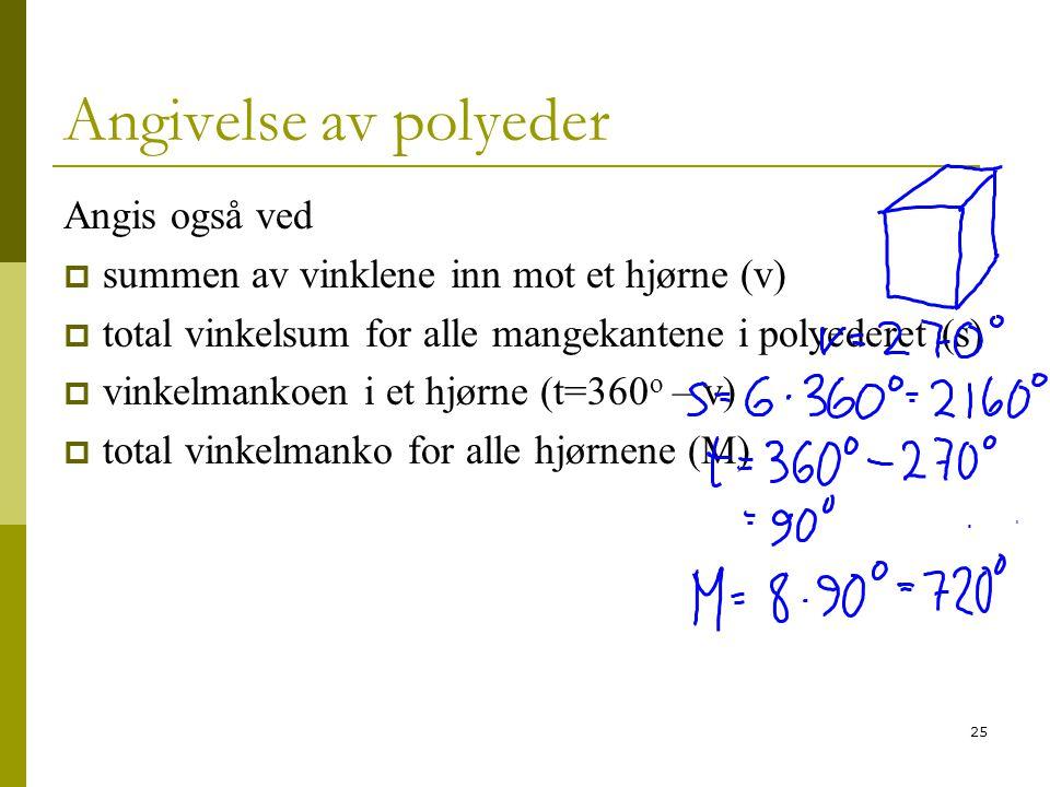 25 Angivelse av polyeder Angis også ved  summen av vinklene inn mot et hjørne (v)  total vinkelsum for alle mangekantene i polyederet (s)  vinkelma