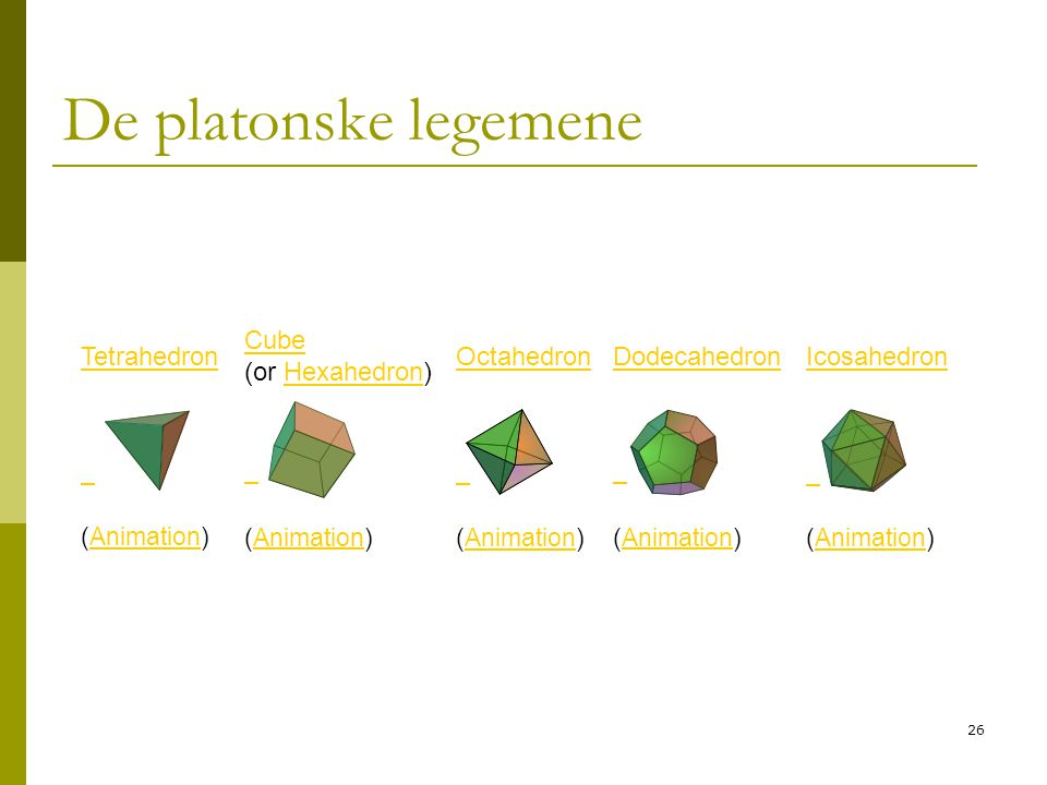 26 De platonske legemene Tetrahedron Cube Cube (or Hexahedron)Hexahedron OctahedronDodecahedronIcosahedron (Animation)Animation (Animation)Animation (