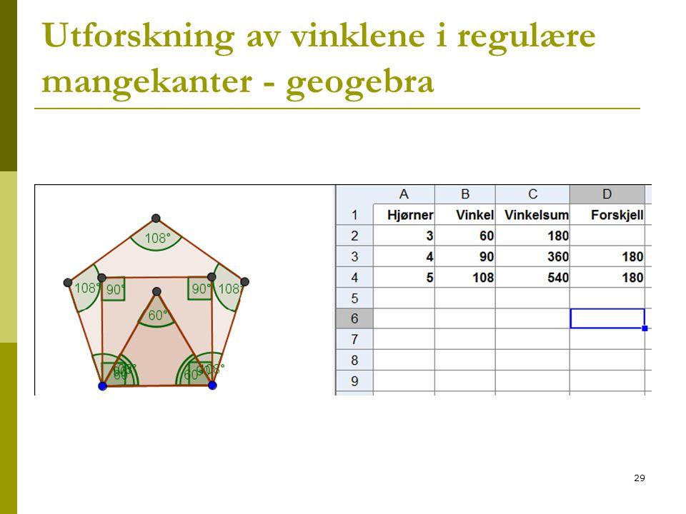 29 Utforskning av vinklene i regulære mangekanter - geogebra