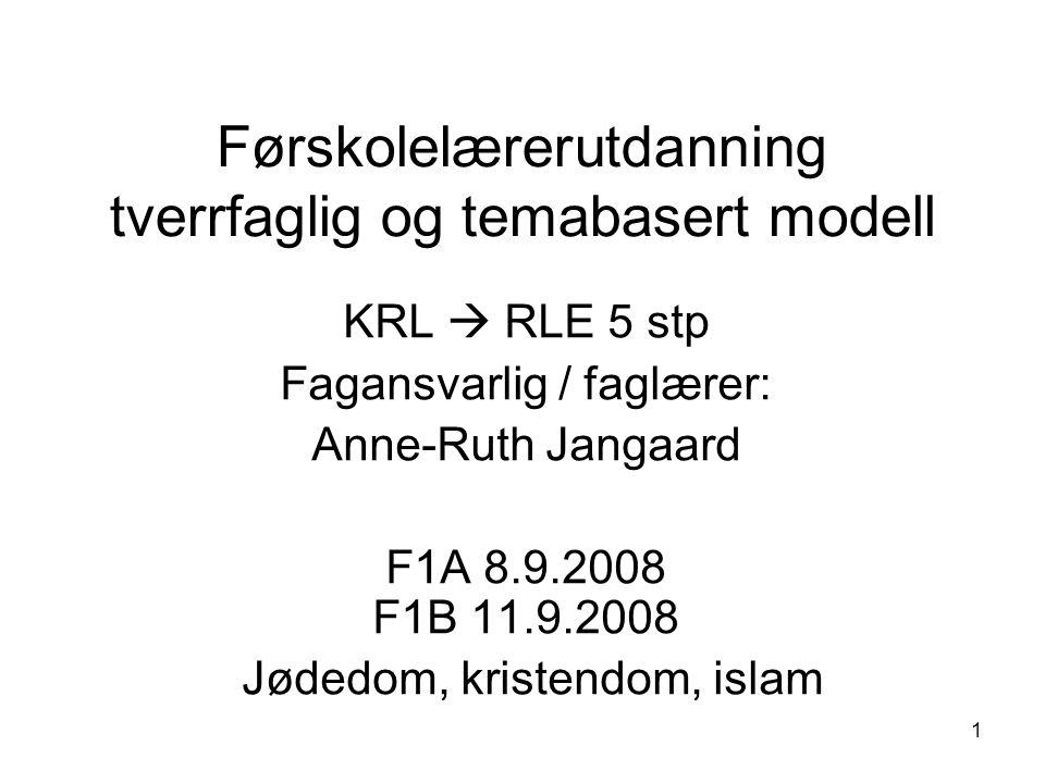 1 Førskolelærerutdanning tverrfaglig og temabasert modell KRL  RLE 5 stp Fagansvarlig / faglærer: Anne-Ruth Jangaard F1A 8.9.2008 F1B 11.9.2008 Jøded