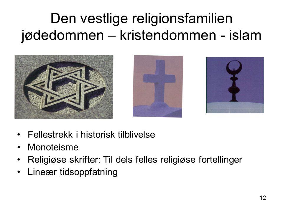 12 Den vestlige religionsfamilien jødedommen – kristendommen - islam Fellestrekk i historisk tilblivelse Monoteisme Religiøse skrifter: Til dels felle