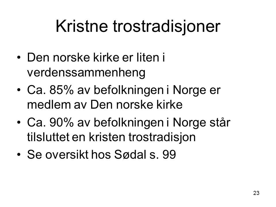 23 Kristne trostradisjoner Den norske kirke er liten i verdenssammenheng Ca. 85% av befolkningen i Norge er medlem av Den norske kirke Ca. 90% av befo