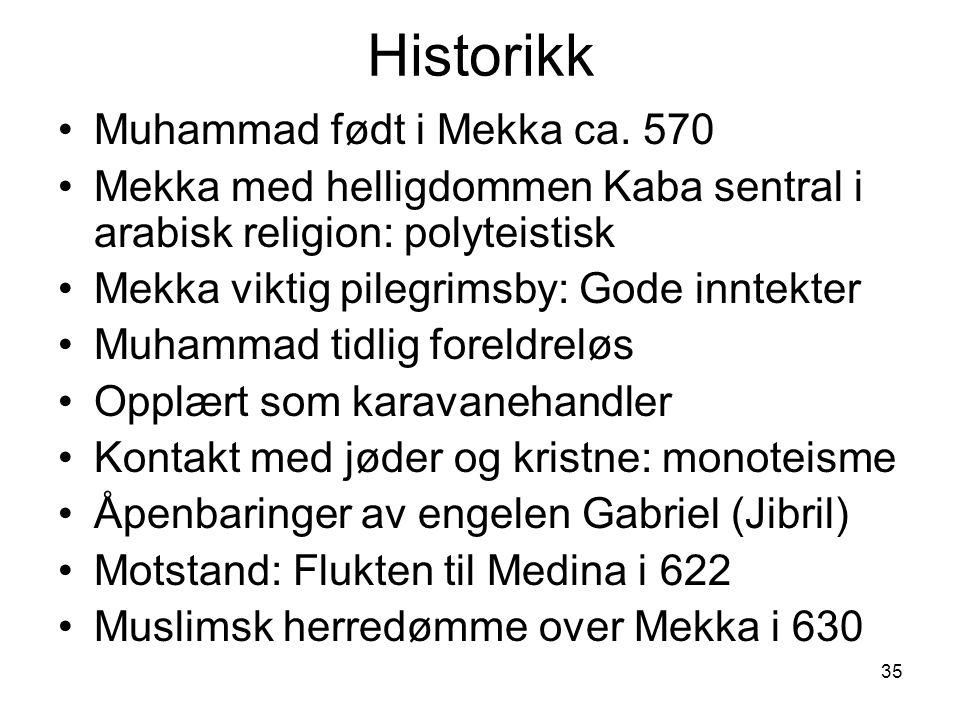 35 Historikk Muhammad født i Mekka ca. 570 Mekka med helligdommen Kaba sentral i arabisk religion: polyteistisk Mekka viktig pilegrimsby: Gode inntekt