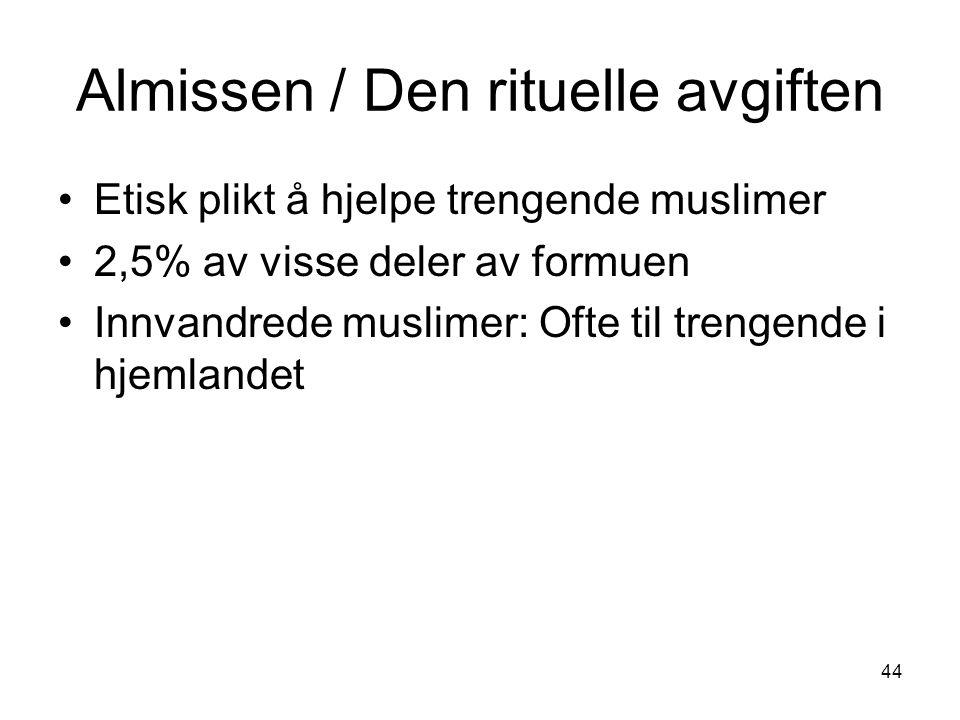44 Almissen / Den rituelle avgiften Etisk plikt å hjelpe trengende muslimer 2,5% av visse deler av formuen Innvandrede muslimer: Ofte til trengende i