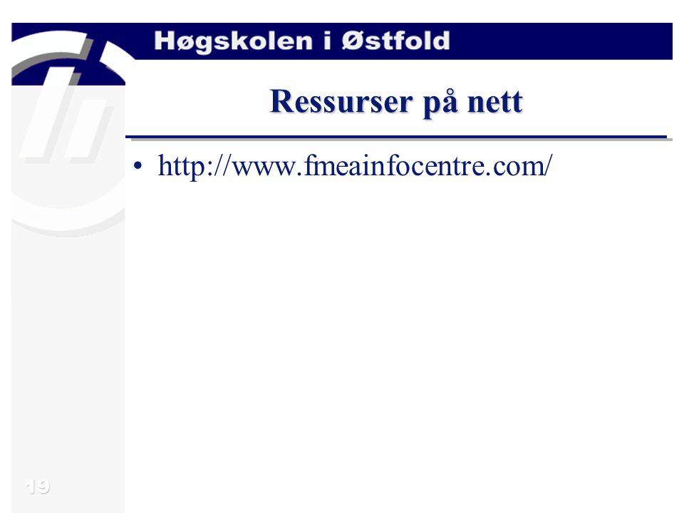 19 Ressurser på nett http://www.fmeainfocentre.com/