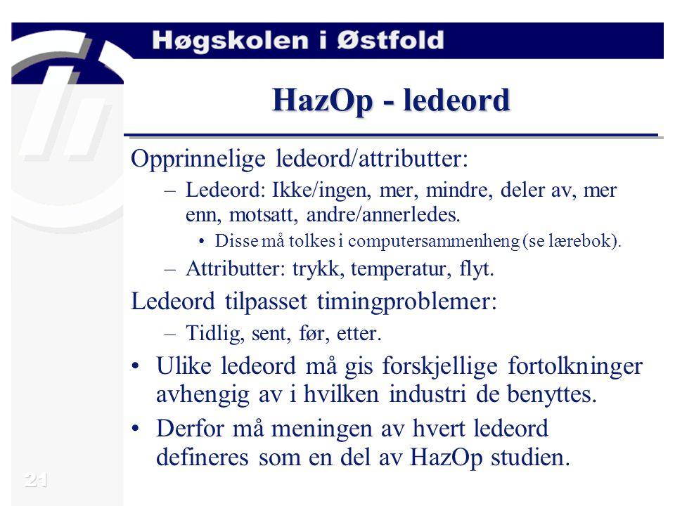 21 HazOp - ledeord Opprinnelige ledeord/attributter: –Ledeord: Ikke/ingen, mer, mindre, deler av, mer enn, motsatt, andre/annerledes. Disse må tolkes
