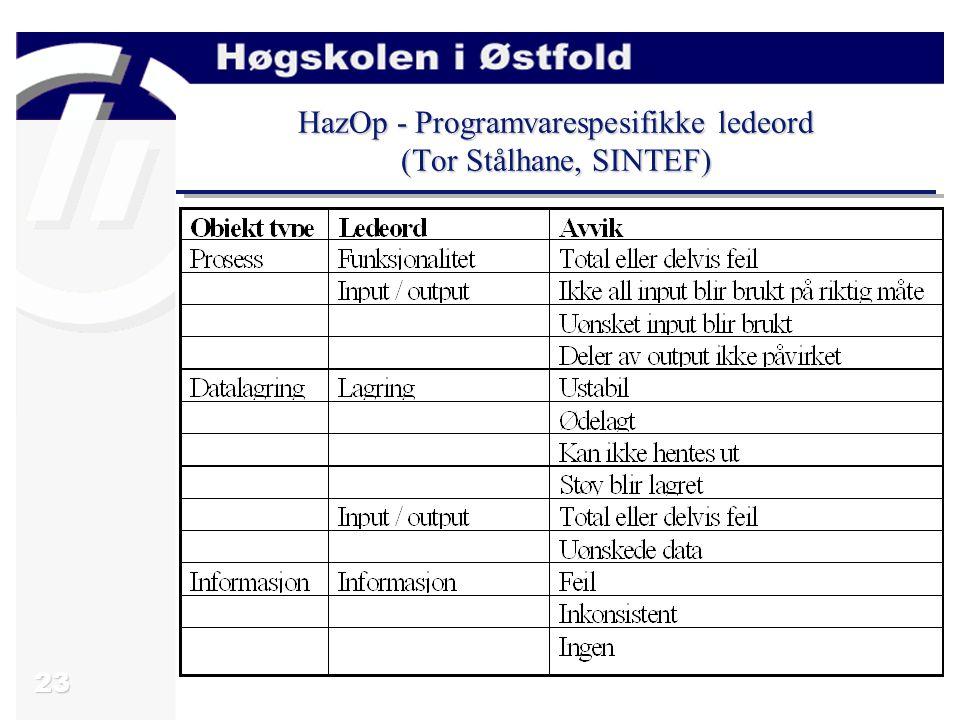 23 HazOp - Programvarespesifikke ledeord (Tor Stålhane, SINTEF)
