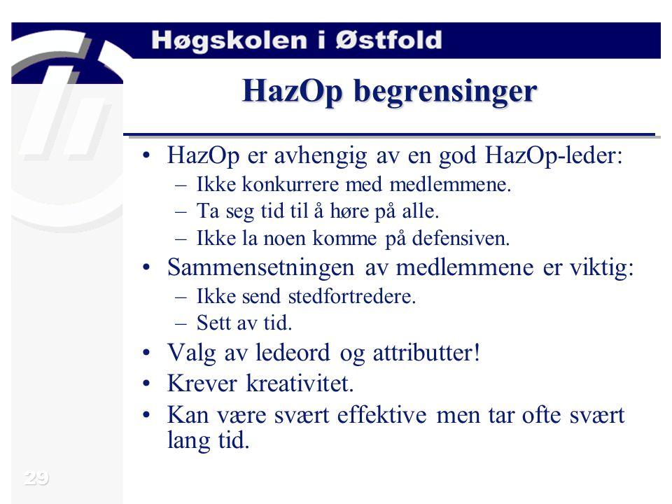 29 HazOp begrensinger HazOp er avhengig av en god HazOp-leder: –Ikke konkurrere med medlemmene. –Ta seg tid til å høre på alle. –Ikke la noen komme på