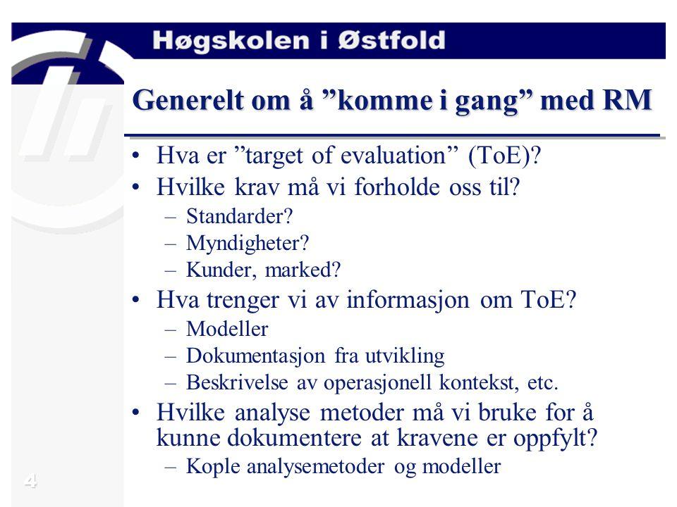 """4 Generelt om å """"komme i gang"""" med RM Hva er """"target of evaluation"""" (ToE)? Hvilke krav må vi forholde oss til? –Standarder? –Myndigheter? –Kunder, mar"""
