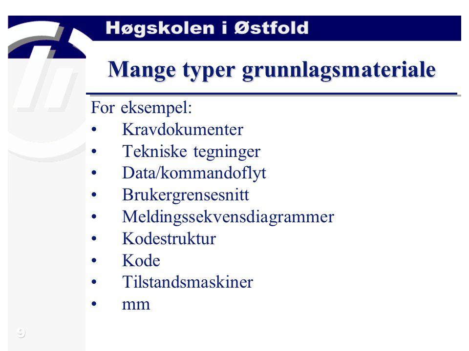 9 Mange typer grunnlagsmateriale For eksempel: Kravdokumenter Tekniske tegninger Data/kommandoflyt Brukergrensesnitt Meldingssekvensdiagrammer Kodestr