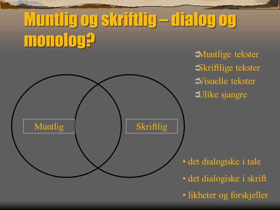 Muntlig og skriftlig – dialog og monolog.