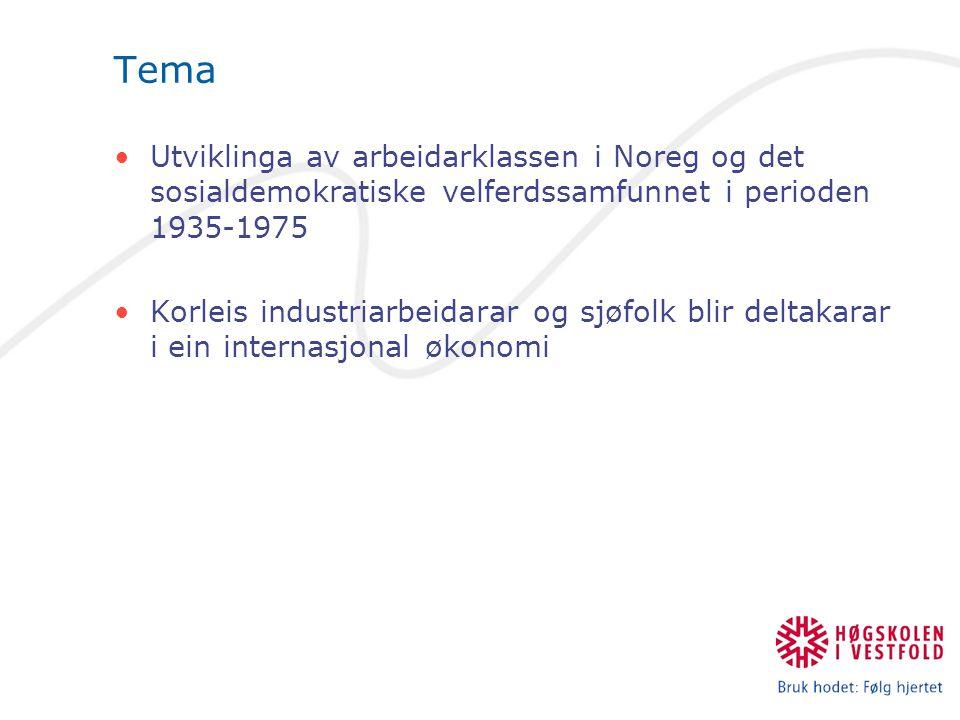 Tema Utviklinga av arbeidarklassen i Noreg og det sosialdemokratiske velferdssamfunnet i perioden 1935-1975 Korleis industriarbeidarar og sjøfolk blir