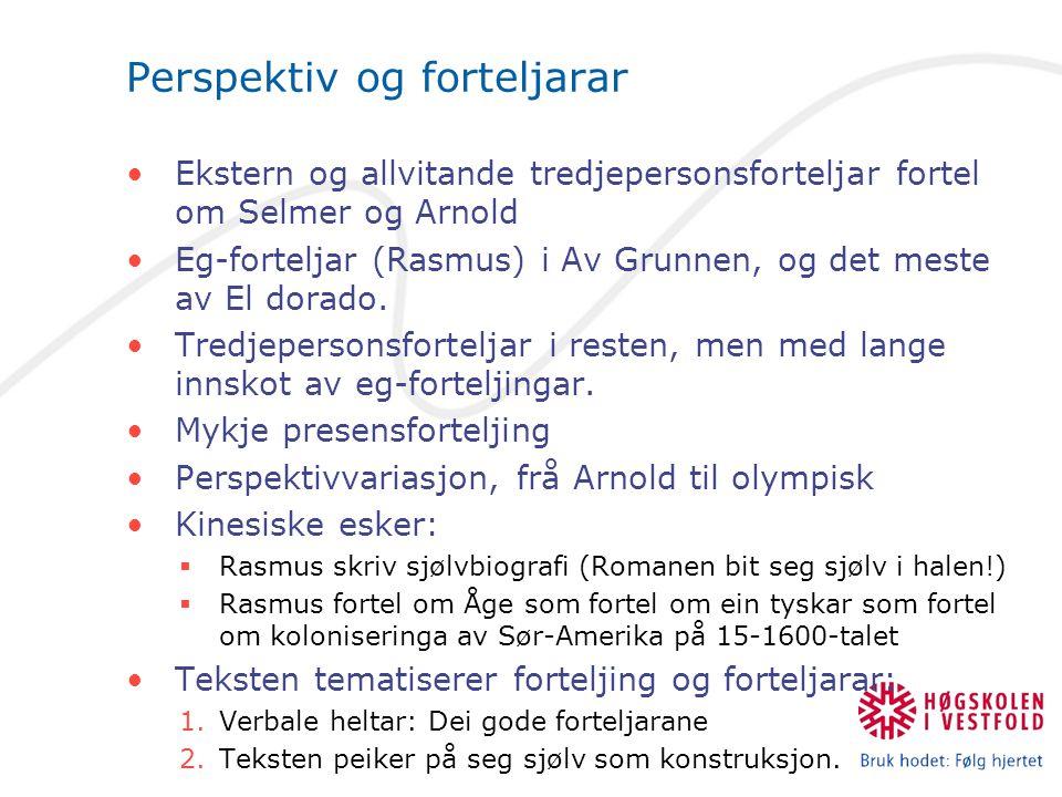 Perspektiv og forteljarar Ekstern og allvitande tredjepersonsforteljar fortel om Selmer og Arnold Eg-forteljar (Rasmus) i Av Grunnen, og det meste av