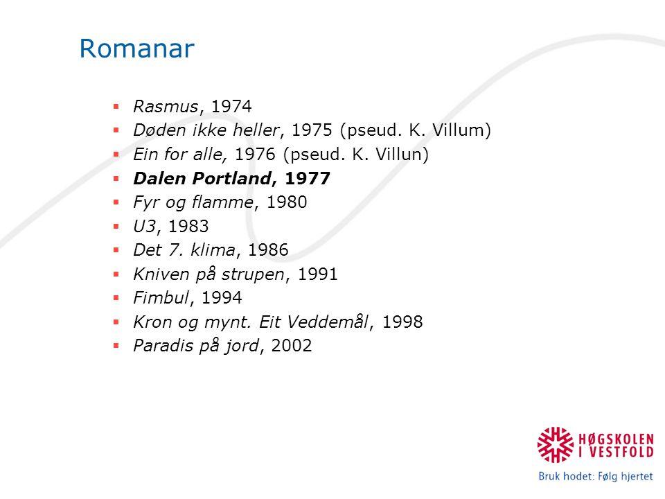 Romanar  Rasmus, 1974  Døden ikke heller, 1975 (pseud. K. Villum)  Ein for alle, 1976 (pseud. K. Villun)  Dalen Portland, 1977  Fyr og flamme, 19