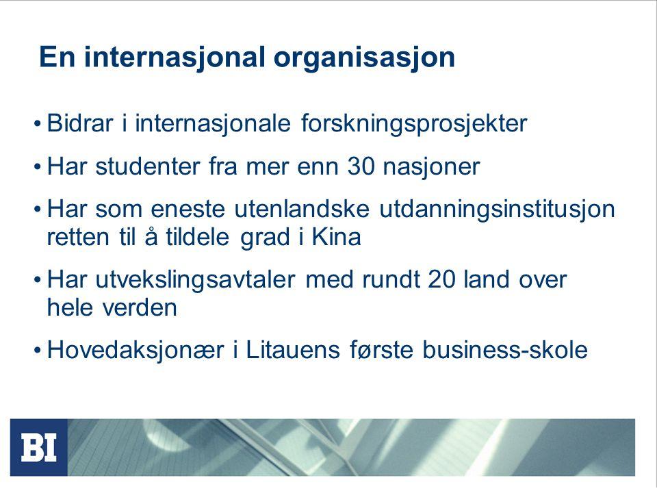 En internasjonal organisasjon Bidrar i internasjonale forskningsprosjekter Har studenter fra mer enn 30 nasjoner Har som eneste utenlandske utdanningsinstitusjon retten til å tildele grad i Kina Har utvekslingsavtaler med rundt 20 land over hele verden Hovedaksjonær i Litauens første business-skole