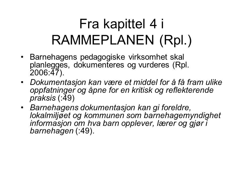 Fra kapittel 4 i RAMMEPLANEN (Rpl.) Barnehagens pedagogiske virksomhet skal planlegges, dokumenteres og vurderes (Rpl. 2006:47). Dokumentasjon kan vær