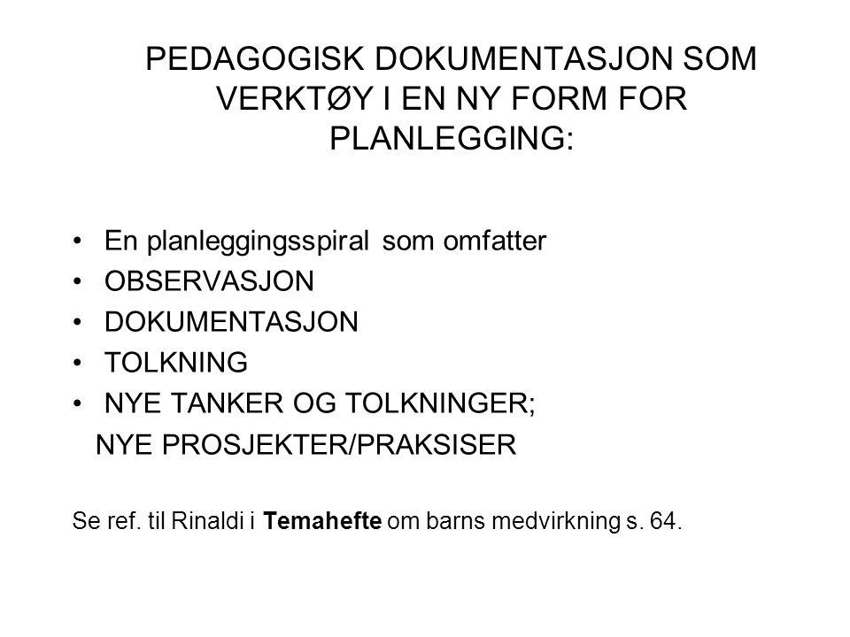 PEDAGOGISK DOKUMENTASJON SOM VERKTØY I EN NY FORM FOR PLANLEGGING: En planleggingsspiral som omfatter OBSERVASJON DOKUMENTASJON TOLKNING NYE TANKER OG