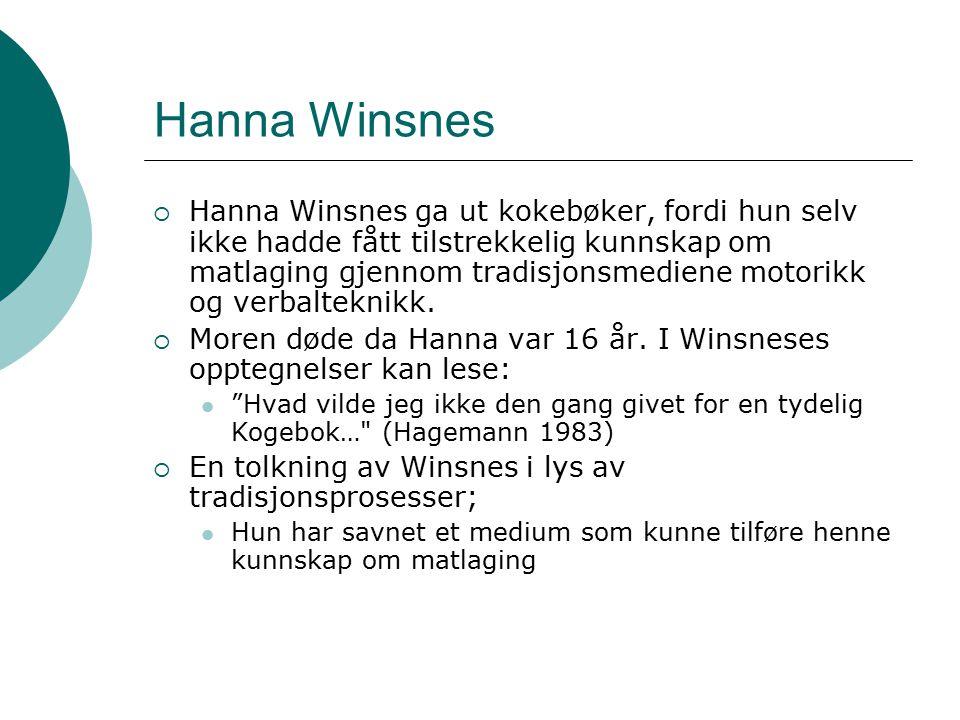 Hanna Winsnes  Hanna Winsnes ga ut kokebøker, fordi hun selv ikke hadde fått tilstrekkelig kunnskap om matlaging gjennom tradisjonsmediene motorikk o