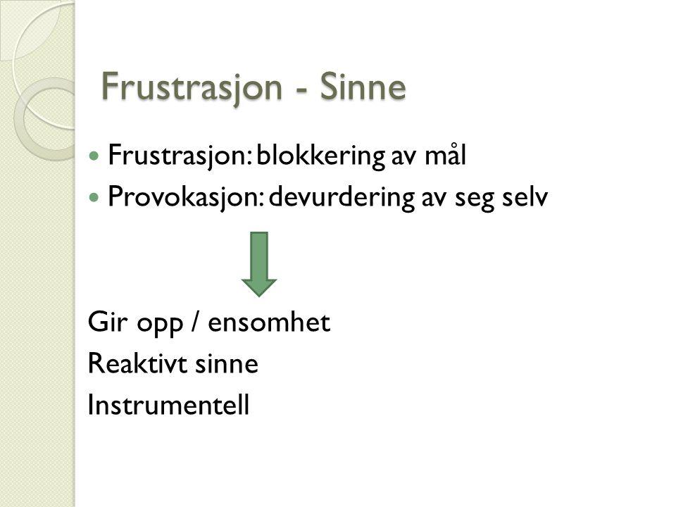 Frustrasjon - Sinne Frustrasjon - Sinne Frustrasjon: blokkering av mål Provokasjon: devurdering av seg selv Gir opp / ensomhet Reaktivt sinne Instrumentell