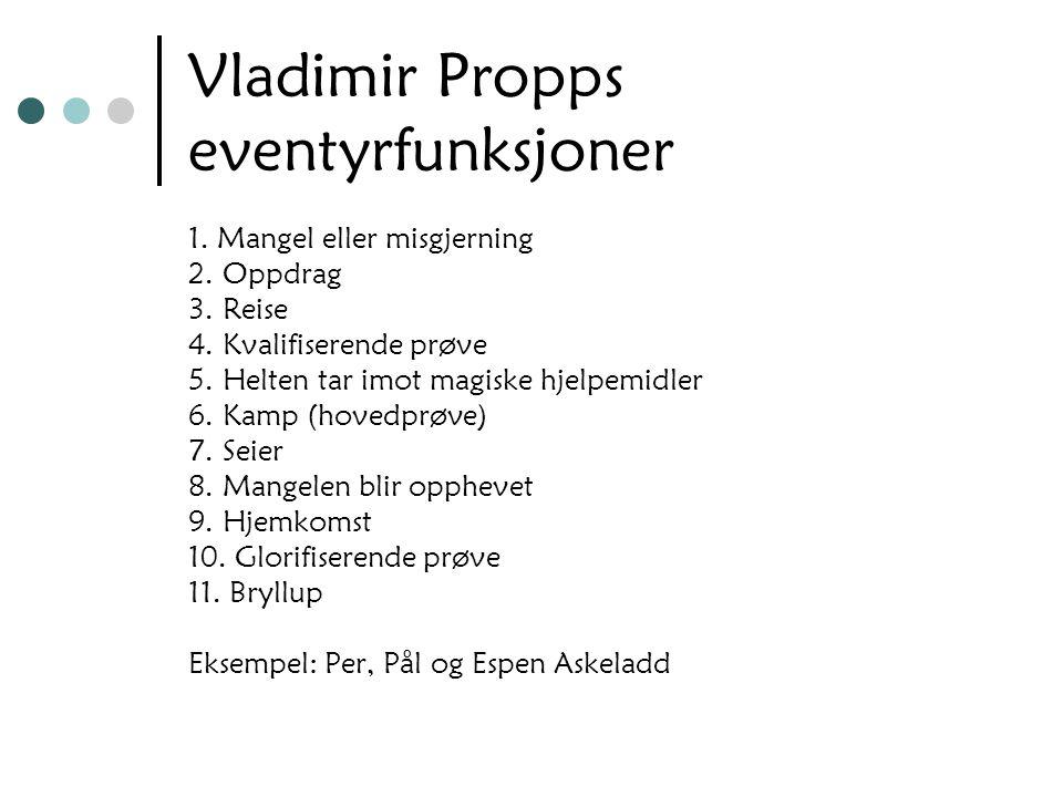 Vladimir Propps eventyrfunksjoner 1. Mangel eller misgjerning 2. Oppdrag 3. Reise 4. Kvalifiserende prøve 5. Helten tar imot magiske hjelpemidler 6. K