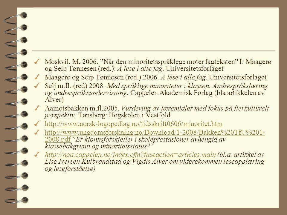 Referanser og anbefalt litteratur 4 Berggren og Tenfjord.1999. Andrespråkslæring. Oslo: Ad notam Gyldendal 4 Engen og Kulbrandstad. 2004. Tospråklighe