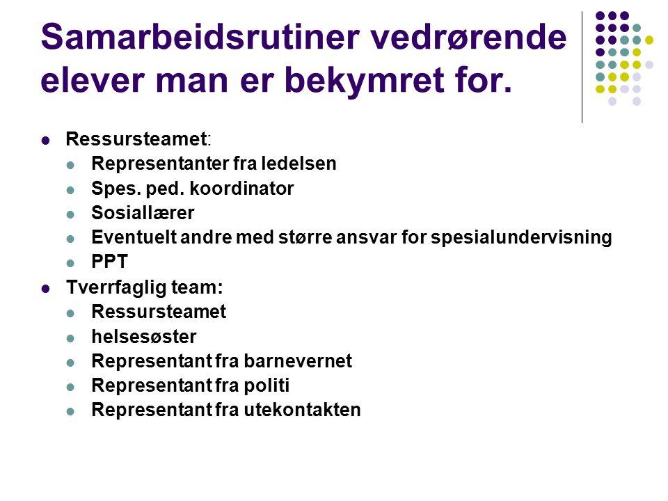 Henvisningsrutiner til PPT Fredrikstad Problemstillingen drøftes på skolen med PPT sin skolekontakt Ressursmøter eller tverrfaglige møter Veiledningsnotat fylles ut i forkant av møtet.