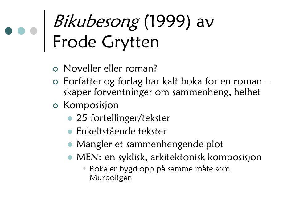 Bikubesong (1999) av Frode Grytten Noveller eller roman? Forfatter og forlag har kalt boka for en roman – skaper forventninger om sammenheng, helhet K