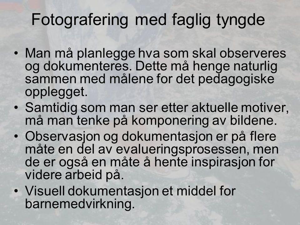 Fotografering med faglig tyngde Man må planlegge hva som skal observeres og dokumenteres.
