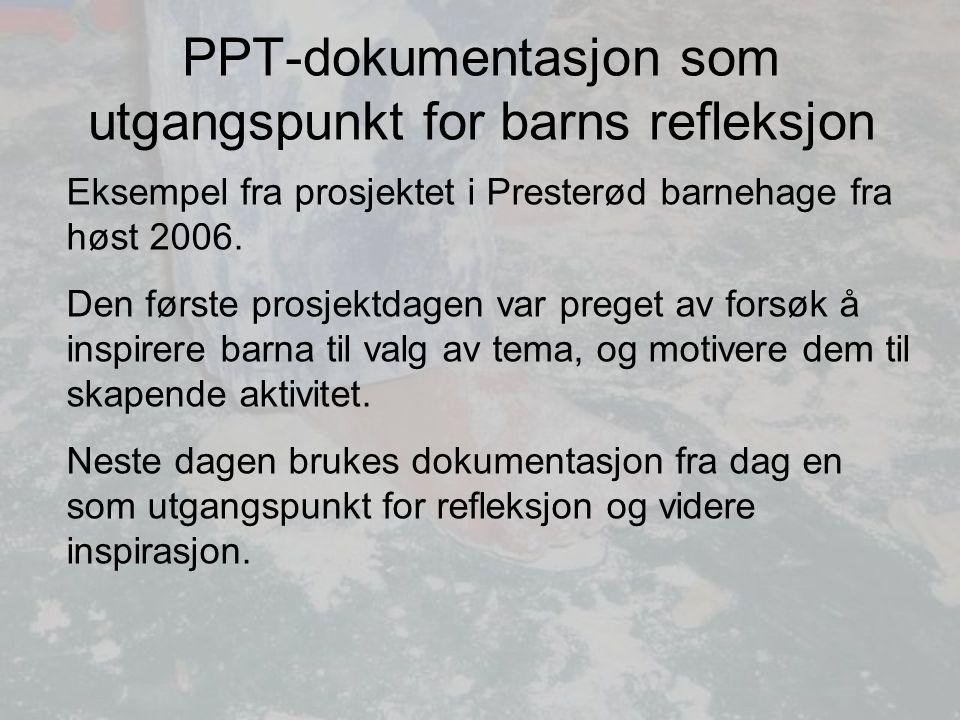 PPT-dokumentasjon som utgangspunkt for barns refleksjon Eksempel fra prosjektet i Presterød barnehage fra høst 2006.