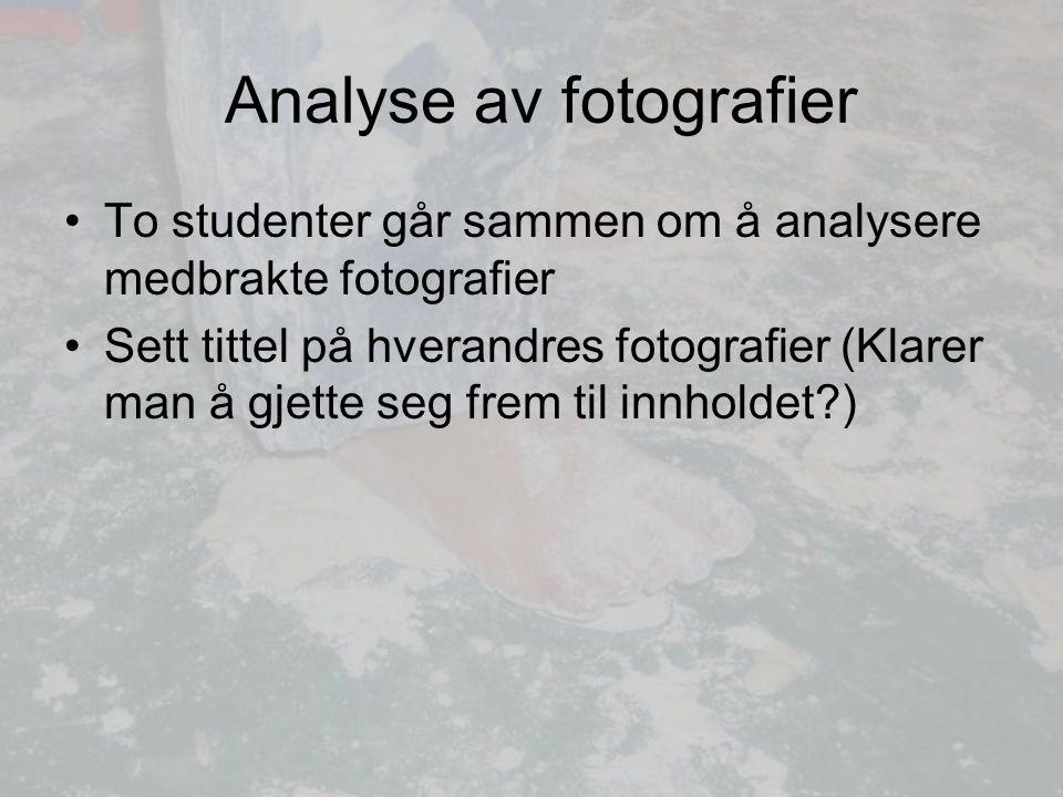 Analyse av fotografier To studenter går sammen om å analysere medbrakte fotografier Sett tittel på hverandres fotografier (Klarer man å gjette seg frem til innholdet?)