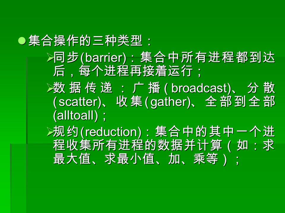 集合操作的三种类型: 集合操作的三种类型:  同步 (barrier) :集合中所有进程都到达 后,每个进程再接着运行;  数据传递:广播 (broadcast) 、分散 (scatter) 、收集 (gather) 、全部到全部 (alltoall) ;  规约 (reduction) :集合中的其中一个进 程收集所有进程的数据并计算(如:求 最大值、求最小值、加、乘等);