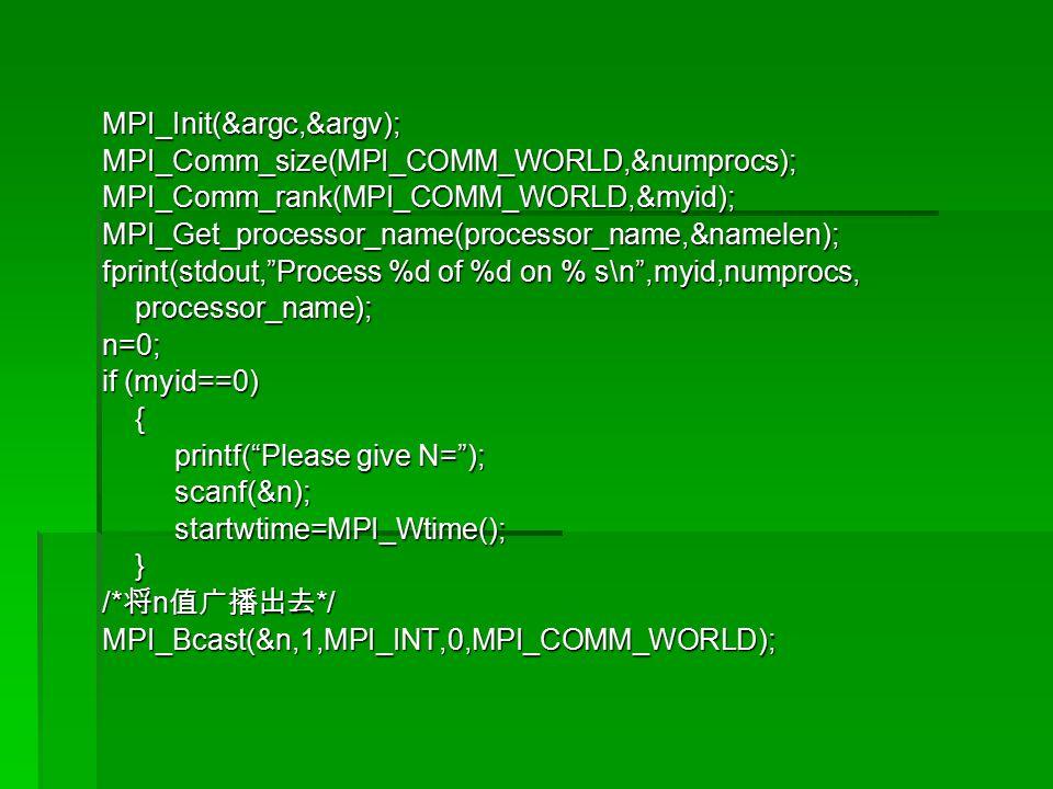 MPI_Init(&argc,&argv); MPI_Init(&argc,&argv); MPI_Comm_size(MPI_COMM_WORLD,&numprocs); MPI_Comm_size(MPI_COMM_WORLD,&numprocs); MPI_Comm_rank(MPI_COMM_WORLD,&myid); MPI_Comm_rank(MPI_COMM_WORLD,&myid); MPI_Get_processor_name(processor_name,&namelen); MPI_Get_processor_name(processor_name,&namelen); fprint(stdout, Process %d of %d on % s\n ,myid,numprocs, fprint(stdout, Process %d of %d on % s\n ,myid,numprocs, processor_name); processor_name); n=0; n=0; if (myid==0) if (myid==0) { printf( Please give N= ); printf( Please give N= ); scanf(&n); scanf(&n); startwtime=MPI_Wtime(); startwtime=MPI_Wtime(); } /* 将 n 值广播出去 */ /* 将 n 值广播出去 */ MPI_Bcast(&n,1,MPI_INT,0,MPI_COMM_WORLD); MPI_Bcast(&n,1,MPI_INT,0,MPI_COMM_WORLD);