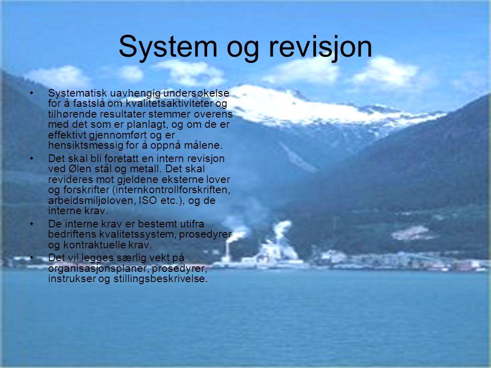 System og revisjon Systematisk uavhengig undersøkelse for å fastslå om kvalitetsaktiviteter og tilhørende resultater stemmer overens med det som er pl
