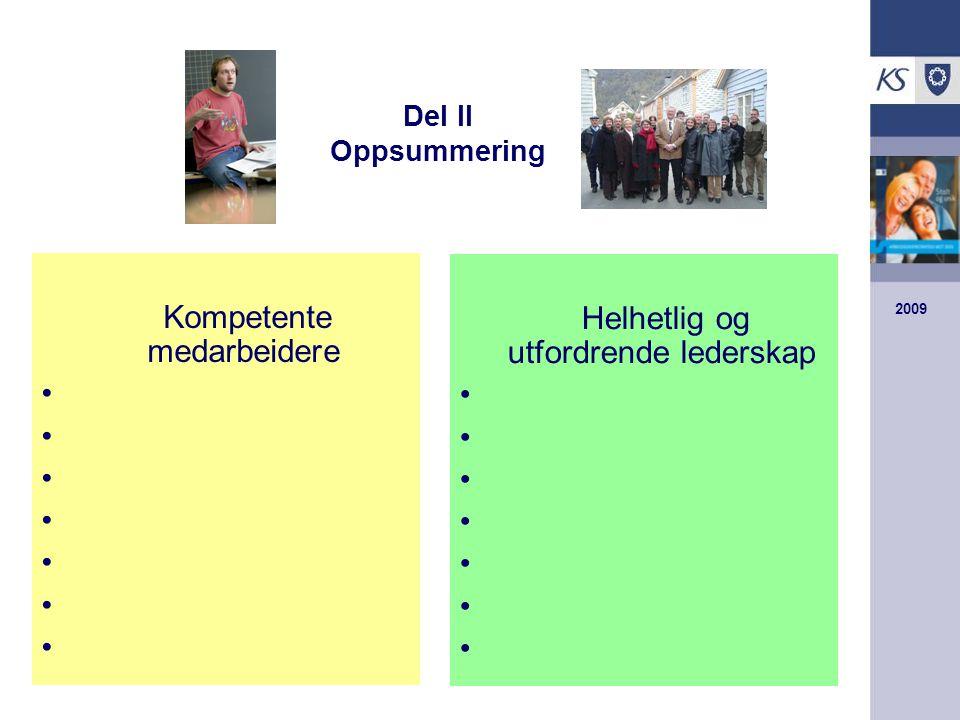 2009 Del II Oppsummering Kompetente medarbeidere Helhetlig og utfordrende lederskap